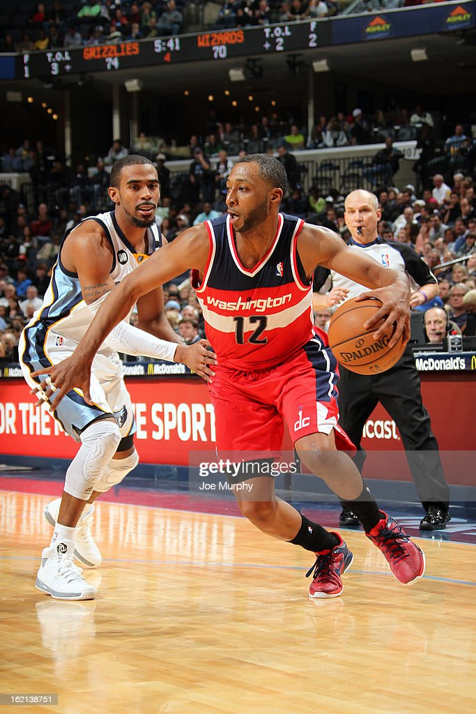 A.J. Price #12 of the Washington Wizards looks to drive to the basket against the Memphis Grizzlies on February 1, 2013 at FedExForum in Memphis, Tennessee.