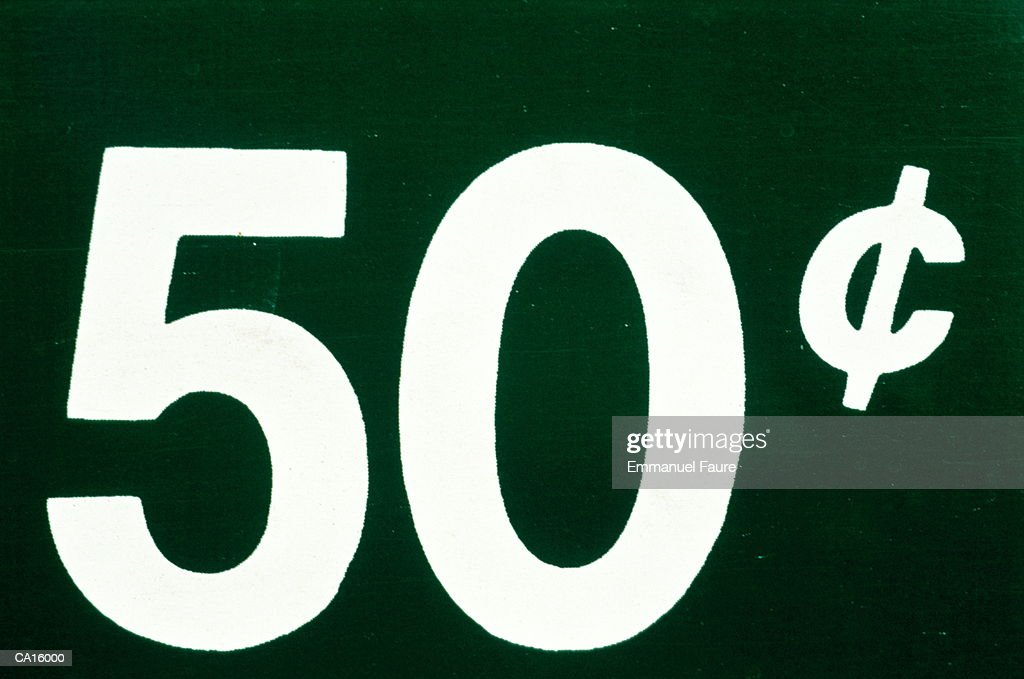 Price Sign Us Currency 50 Cents Stock Photo Getty Images