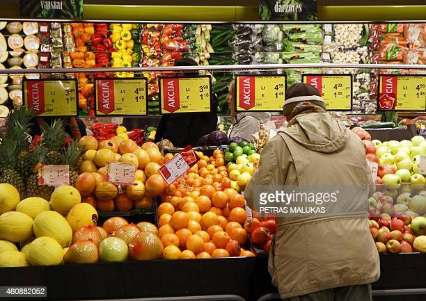 Price signs show prices in Lithuanian Litas and Euros in a supermarket in Vilnius on December 27 as Lithuania will adopt the Euro on January 1 2015...