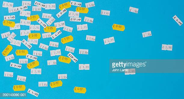 Price stickers in English currency on blue background