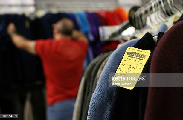 A price tag is seen on a sweater at a Thrift Town thrift store October 14 2008 in San Francisco California As the economy continues to falter thrift...