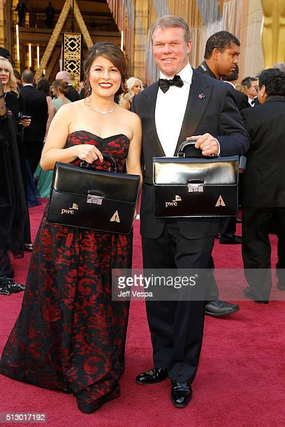 Price Waterhouse and Coopers partners Martha Ruiz and Brian Cullinan attend the 88th Annual Academy Awards at Hollywood Highland Center on February...