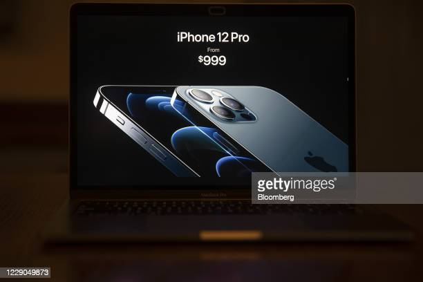 Priceing for the Apple iPhone 12 Pro is unveiled during a virtual product launch seen on a laptop computer in Tiskilwa, Illinois, U.S., on Tuesday,...