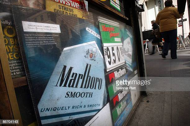 Prices are advertised for cigarettes March 30 2009 in New York City On April 1 a new federal excise tax on tobacco will officially commence driving...