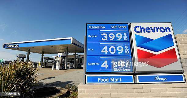 Prices are displayed at a Chevron Corp gas station in South San Francisco California US on Wednesday Feb 23 2011 Oil surged to $100 a barrel in New...