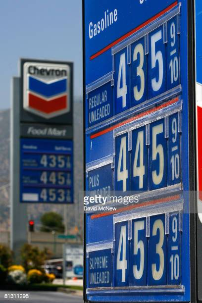 Prices are displayed at a Chevron gas station in an area where the price of a gallon of a gallon of gas typically ranges from as low as $420 to more...