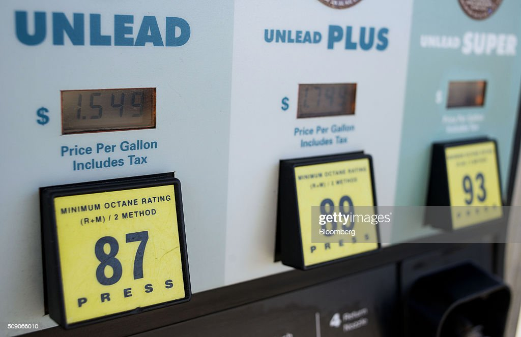 Prices are displayed on a fuel pump at a Go Mart Inc. gas station in Rockbridge, Ohio, U.S., on Saturday, Feb. 6, 2016. Thanks to a glut of oil that has spurred refiners to make as much fuel as they can, pump prices nationwide are down about 26 cents a gallon from a year ago, which is translating into almost $80 million a day in savings for U.S. drivers, according to Michael Green, a spokesman in Washington for AAA. Photographer: Ty Wright/Bloomberg via Getty Images