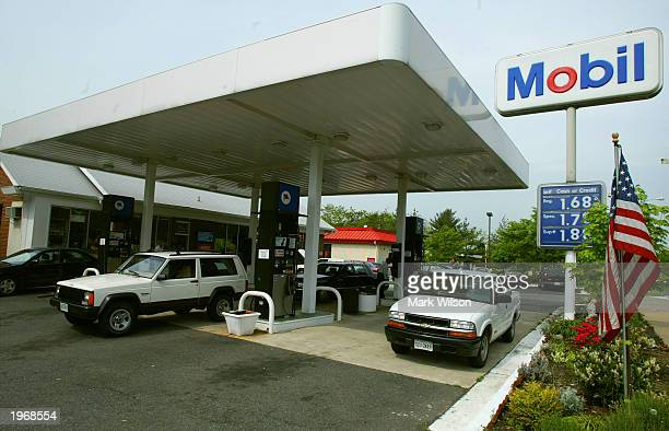 Prices at the pump are slowly starting to fall at a Mobil gas station May 2 2003 in Alexandria Virginia The Exxon Mobil Corp this week reported their...