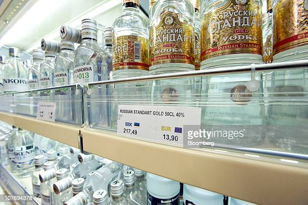 Prices for alcohol are displayed in Estonia Kroon and Euros aboard an AS Tallink Grupp ferry in Tallinn Estonia on Friday Dec 17 2010 Estonia Finance...