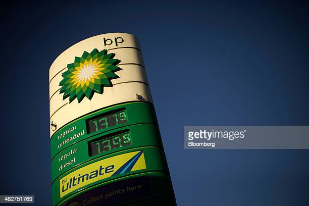 Prices for unleaded and diesel fuel sit displayed on a sign on the forecourt of a gas station operated by BP Plc in London UK on Tuesday Jan 14 2014...