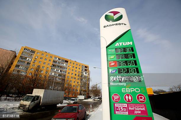 Prices for unleaded fuel and diesel fuel sit on a totem sign outside a gas station operated by Bashneft PAO in Ufa The Republic of Bashkortostan...