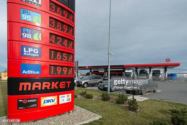 Prices of a petrol station are shown in Zloty near the germanpolish border on February 08 2016 in Zgorzelec Poland