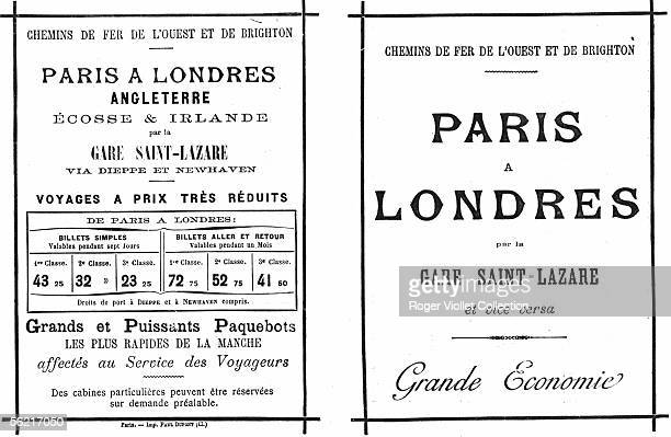 Prices of West and Brighton railways for the line from Paris to London by the SaintLazare station About 1900