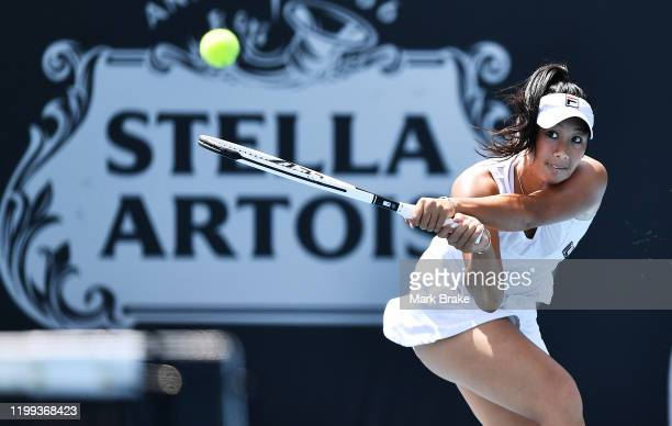 Pricilla Hon of Australia in her match against Julia Georges of Germany during day three of the 2020 Adelaide International at Memorial Drive on...