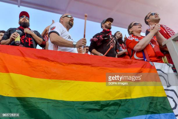 BMO FIELD TORONTO ONTARIO CANADA LGBT pride flag seen during 2018 MLS Regular Season match between Toronto FC and FC Dallas at BMO Field