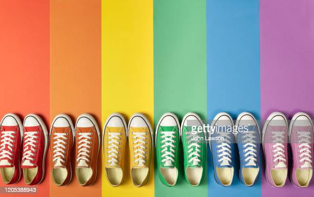 pride flag sneakers - pride stock pictures, royalty-free photos & images