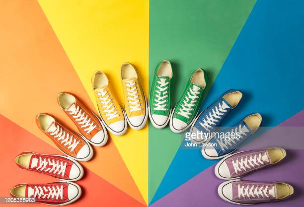 pride flag sneakers - royal blue stock pictures, royalty-free photos & images