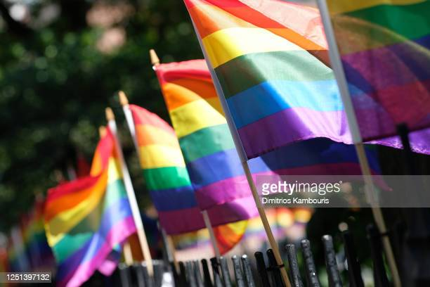 Pride Flags decorate Christopher Park on June 22, 2020 in New York City. Due to the ongoing Coronavirus pandemic, this year's march had to be...