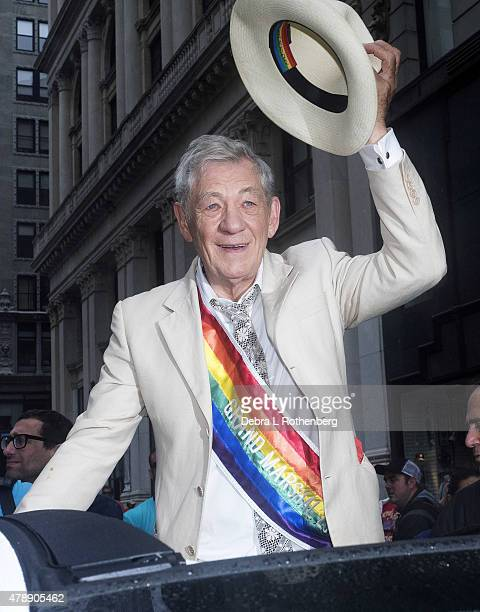 Pride Grand Marshall Sir Ian McKellan during the 2015 New York City Pride Parade on June 28 2015 in New York City