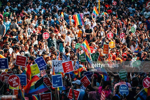 lgbt pride istanbul - protestor stock pictures, royalty-free photos & images