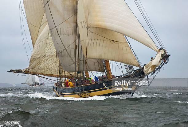 Pride of Baltimore II Crew setting Sails