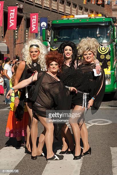 pride parade stockholm sweden transvestites - beautiful transvestite stock photos and pictures