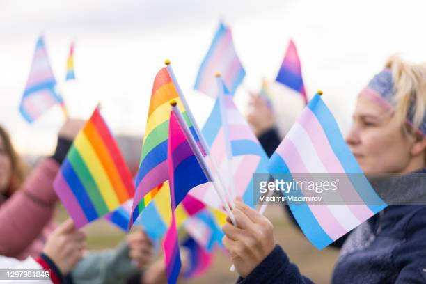 pride protest - flag stock pictures, royalty-free photos & images