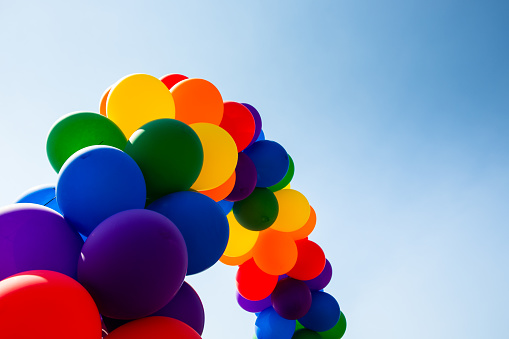 Pride rainbow ballons arch horizontal with sky - gettyimageskorea