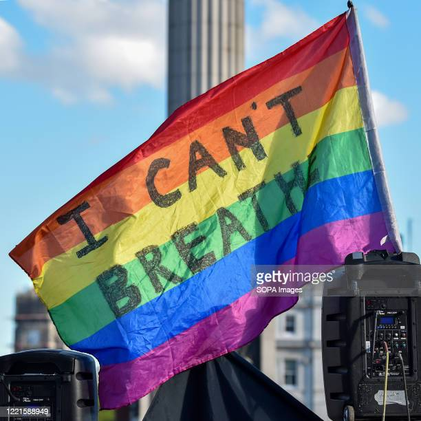 Pride rainbow flag written on I can't breathe flies in Trafalgar Square during the Black Lives Matter protest Black Lives Matter protests continue in...