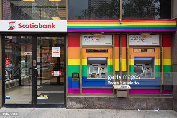 Pride rainbow flagTwo Scotia bank automated banking machines The Bank of Nova Scotia commonly known as Scotiabank is the third largest bank in Canada...