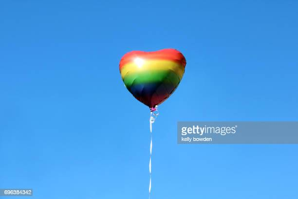 pride rainbow love heart balloon