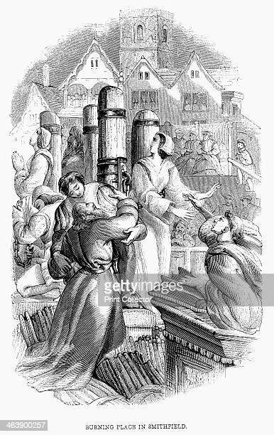 A priest 4 laymen and 2 women burned at the stake at Smithfield London 27 January 1556 for refusing to deny their Protestant belief Reign of Mary I...
