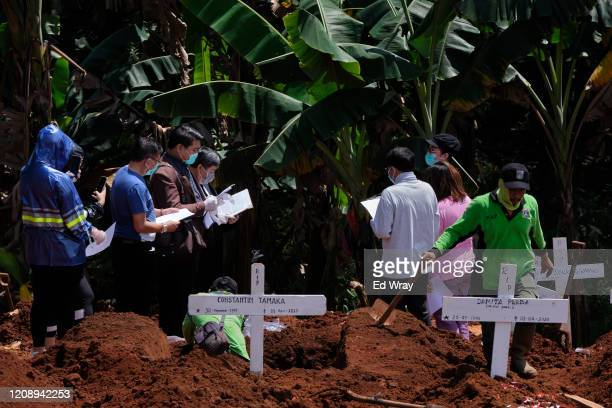 Priest and family mourn a Coronavirus victim as a gravedigger continues his work in one of the two official cemeteries for Coronavirus on April 2,...