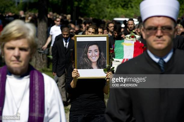 Priest Anne Mari Tronvik and Imam Ghulam Abbas lead the procession as a close friend of Bano Rashid one of the victims of the massacre on the youth...