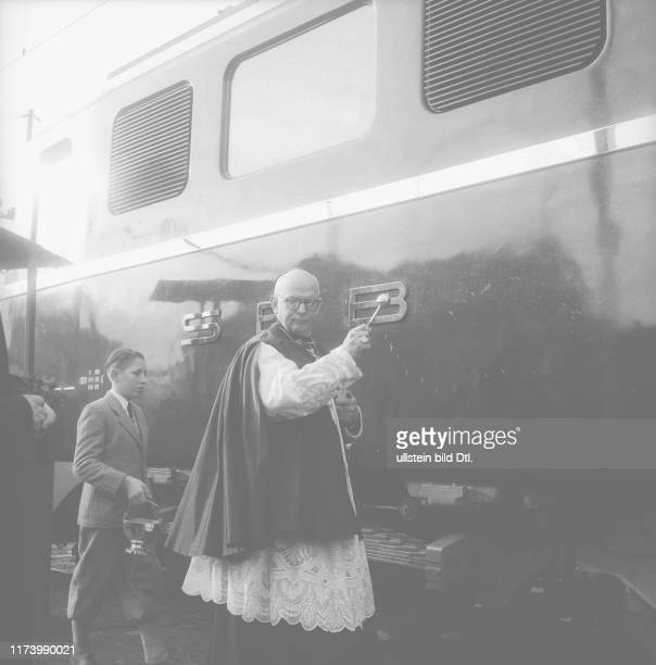 Priest blessing the new Gotthard engine Schwyz in 1955