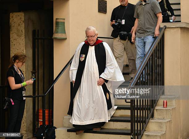 Priest Bob Gribble arrives for a prayer service at St David's Episcopal Church following a deadly car accident at the South by Southwest Music Film...