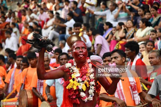 A priest dances during the Deodhani Festival at the Kamakhya Temple on August 18 2018 in Guwahati India The threeday Deodhani festival is held to...