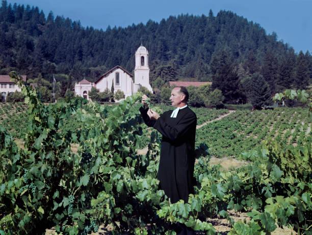 A Priest Tending A Vineyard