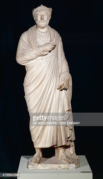 Priest of Serapis wearing the pallium and a sacerdotal crown marble statue height 175 cm copy of an 18th century Roman original Roman civilisation...