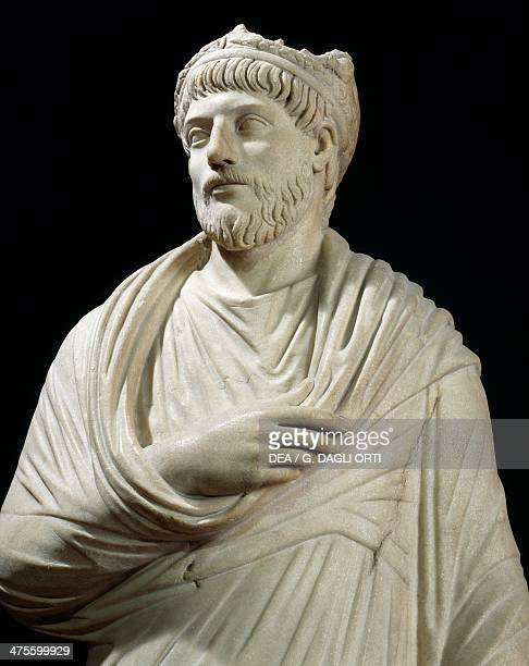 Priest of Serapis wearing the pallium and a sacerdotal crown, marble statue, height 175 cm, copy of an 18th century Roman original. Roman...