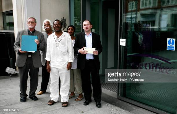Priest of St Nicholas of Tolentino Church in Bristol Father Richard McKay Alphonse Daudet Touna and Stephen Williams MP are seen outside the Home...