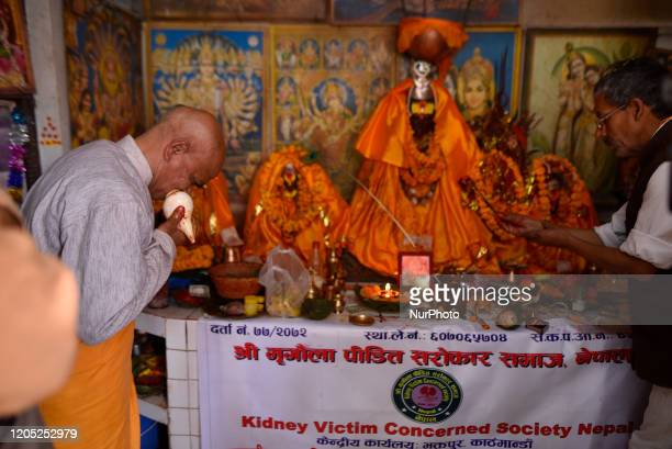 A Priest offering rituals in the hospital premises temple during second time Kidney transplant of Prime Minister KP Sharma Oli at Tribhuwan...