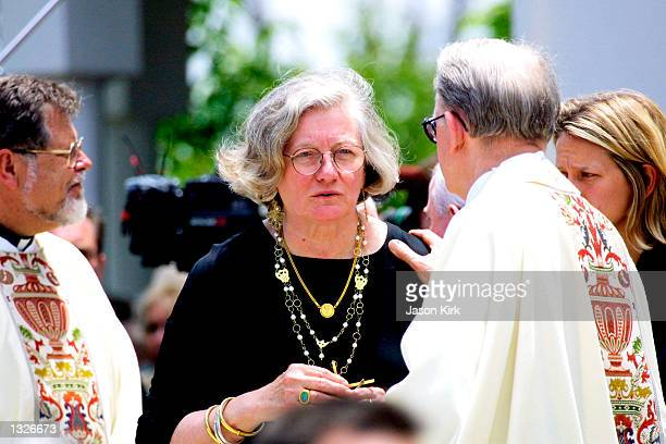 A priest offers his condolences to actor Carroll O''Connor''s widow Nancy after his funeral June 26 2001 at St Paul The Apostle Church in West Los...