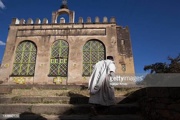 Priest on his way to the St Mary Church of Zion in Aksum on January 25 2011 in Aksum Ethiopia