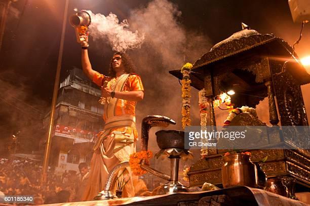 Priest perform Ganga Aarti at Dashashwamedh Ghat at Varanasi, Uttar Pradesh, India