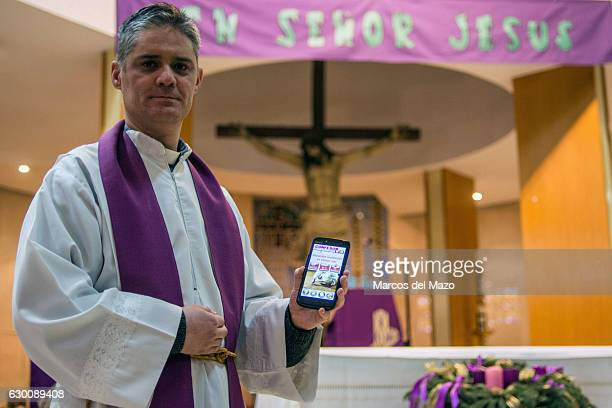 Priest Ricardo Latorre presenting a new app named 'Confesor Go' that shows in real time the nearest location and hour for Christian community to...