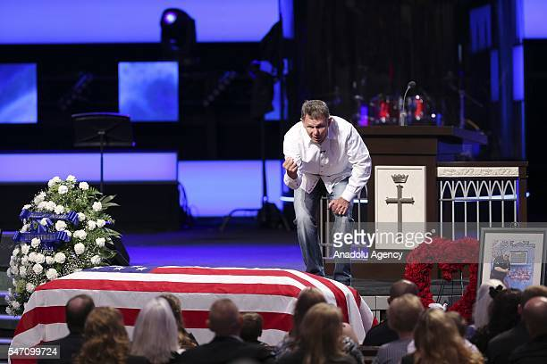 Priest Rick Owen speaks during the funeral ceremony of Lorne Ahrens at the Prestonwood church in DallasTexas USA on July 13 2016 Ahrens was one of...