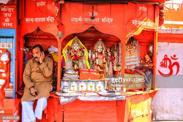 A priest sit near temple in Haridwar Uttrakhand India on 8th Feb 2018According to hindu culture Har ki Pauri one of the famous ghat and Ganga is...