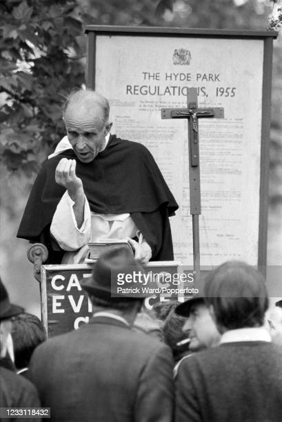 Priest speaking on behalf of the Catholic Evidence Society at Speakers' Corner in Hyde Park, London, circa July 1969. From a series of images to...