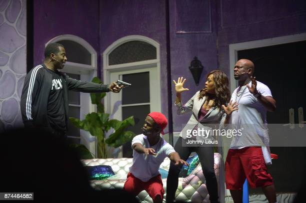 Priest Tyaire Thomas 2Tall Harris Robin Givens and Gary Lil G Jenkins perform onstage during Priest Tyaire Productions Momma's Boy stage play day 1...